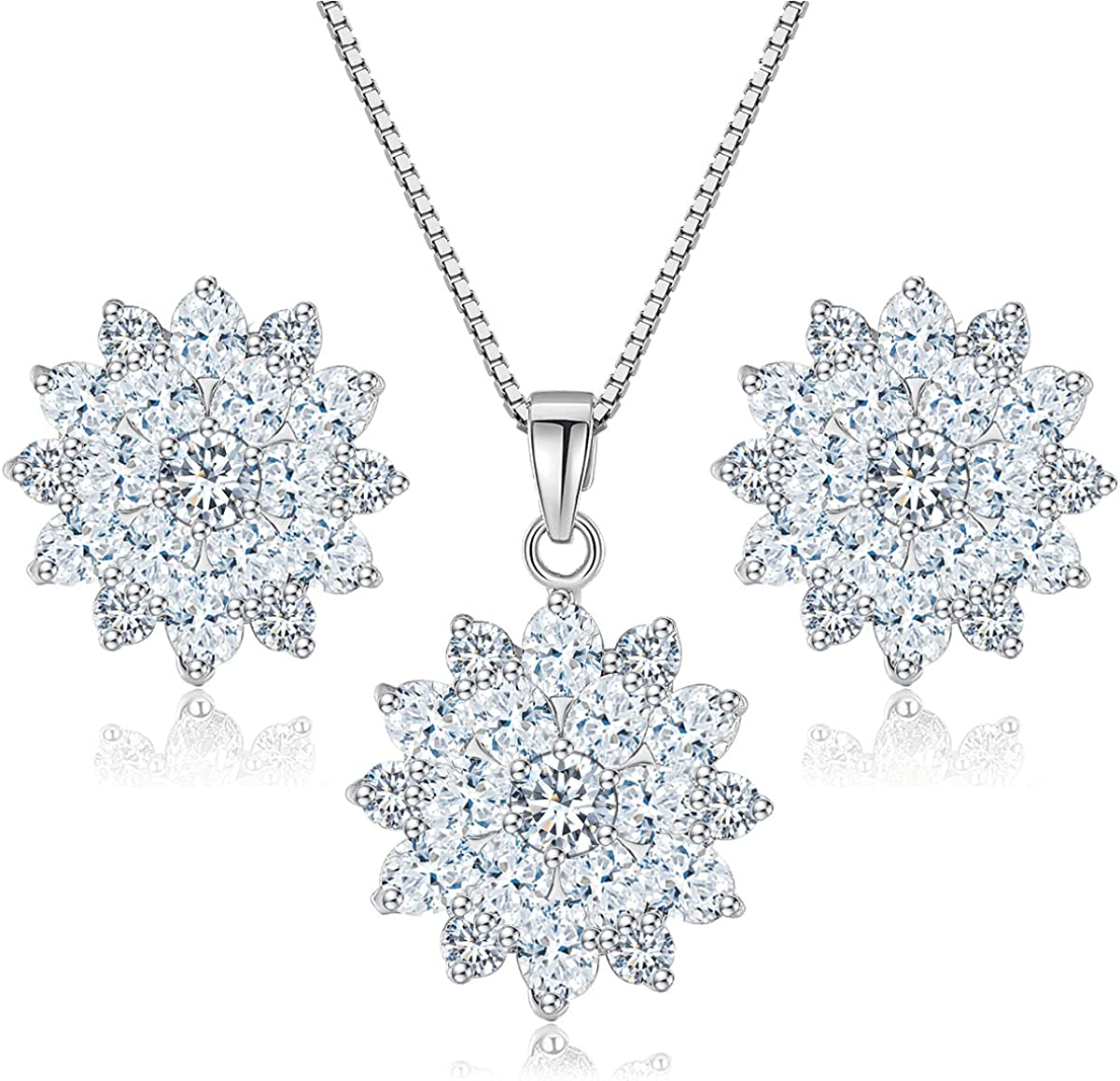 MissDaisy- Flower Necklace Earrings Set for Women Rose-Gold/White Gold Plated Hypoallergenic Jewelry Sets Wedding Party, Bridal and Bridesmaid Accessories