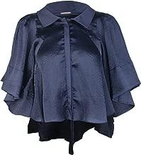 Katharine Kidd Womens Hi-Low Bell Sleeve Blouse Navy 2,4