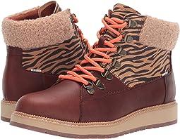 Dark Brown Pull Up Waterproof Leather/Zebra Nylon/Faux Shearling