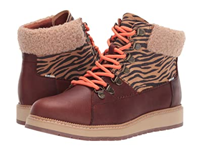 TOMS Mesa (Dark Brown Pull Up Waterproof Leather/Zebra Nylon/Faux Shearling) Women