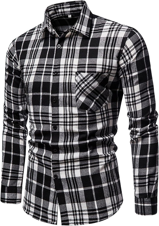 Huangse Men's Cotton Button Down Shirt Casual Plaid Dress Shirts Long Sleeve Regular fit Shirt for Men