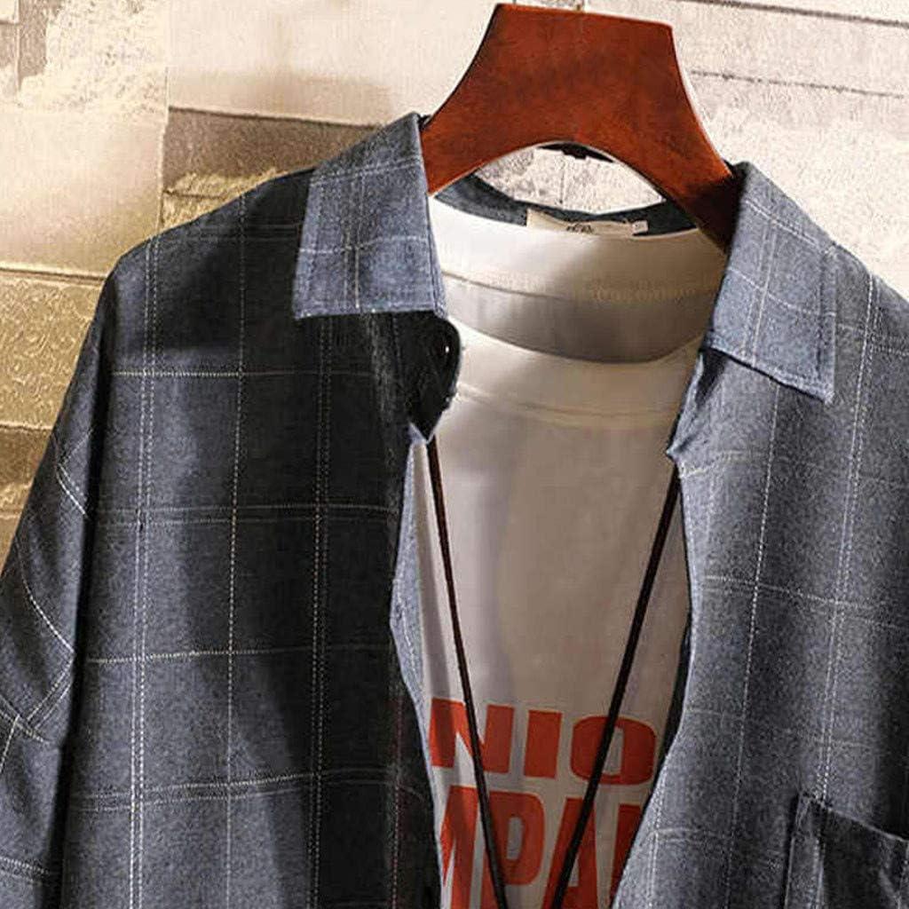 Overdose Camisas Hombre Manga Larga Tallas Grandes Caida Camisa Chaqueta Solapa Cuadros Camisa Casual Adolescente