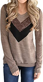 Valphsio Womens Casual Long Sleeve Pullover Shirts Color Block Striped Sweatshirt