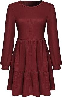Ubrand Women's Long Sleeve Round Neck Waist Dress Pleated Skirt