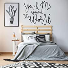 Marriage Wall Decal | 'You & Me Against The World | Vinyl Quote Decor for Wedding, Bedroom, Living Room or Family Room | Small & Large Sizes | Black, White, Blue, Pink, Purple, 25 Colors