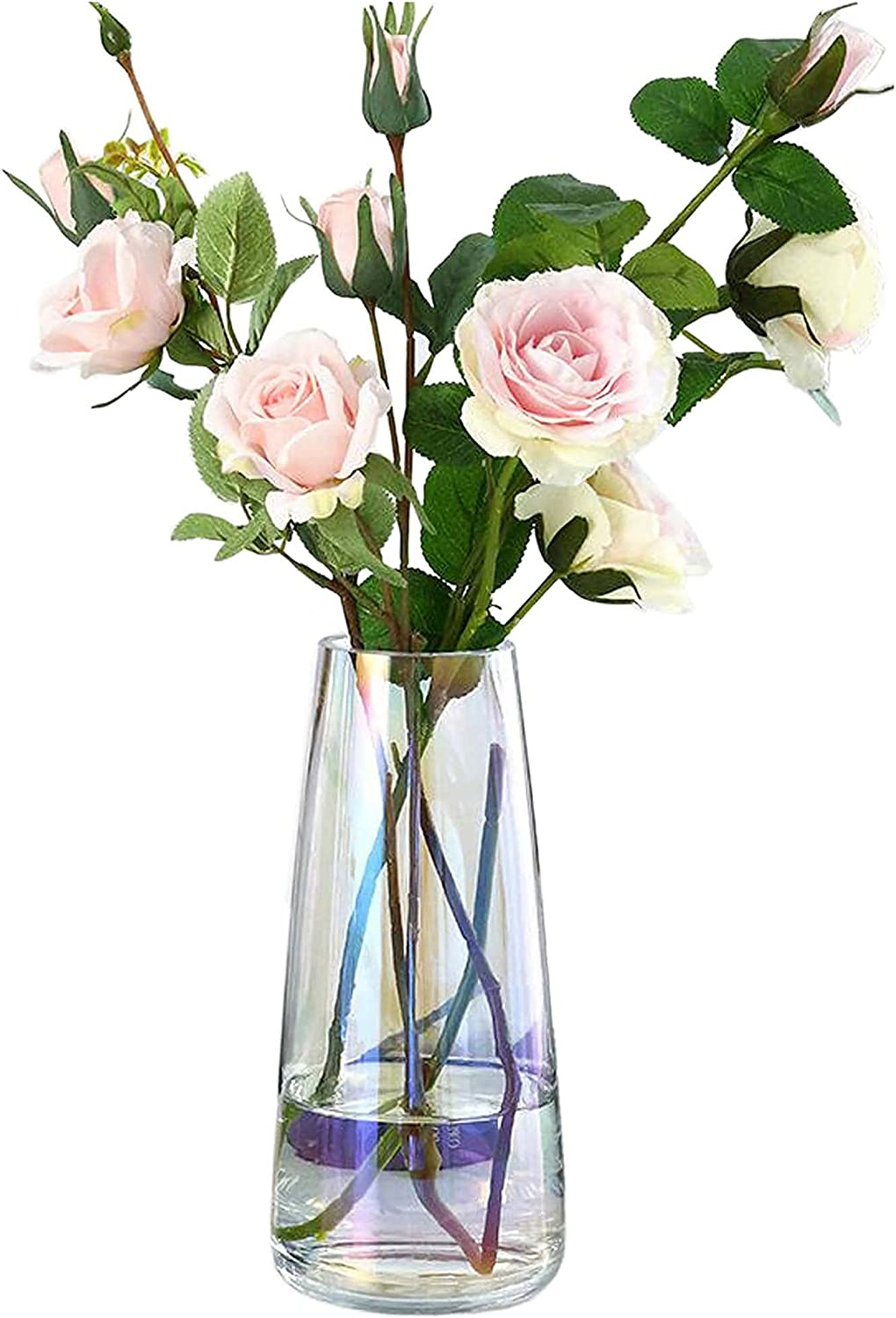 Ins Modern Glass Vase Irised Crystal Clear Glass Vase for Home Office Decor (Irised Clear)