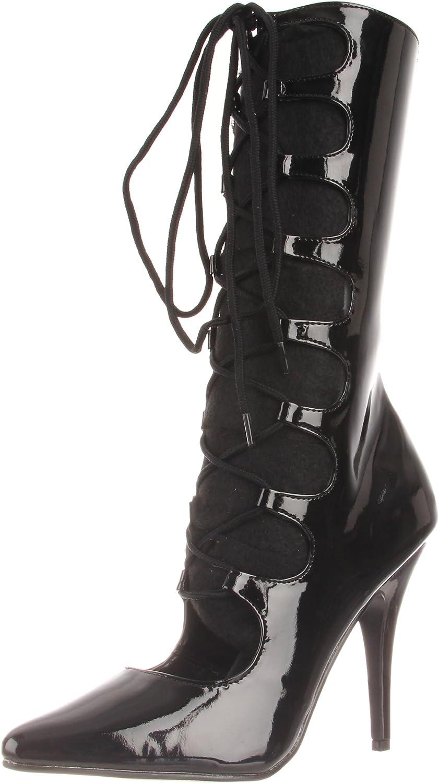 Pleaser Women's Seduce-1049 B Mid-Calf Boot,Black