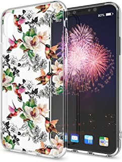 NALIA Motif Case Compatible with iPhone X XS, Pattern Design Silicone Back Cover Protector Soft Skin, Crystal Shockproof Smart-Phone Bumper, Slim Transparent Protective, Designs:Hummingbird