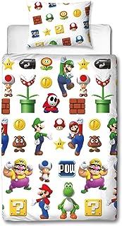 Super Mario Lineup Eenpersoons Dekbedovertrek | Omkeerbare tweezijdige officiële Mario beddengoed dekbedovertrek met bijpa...