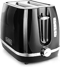 BLACK+DECKER BXTO0202IN 870-Watt 2 Slice Pop-up Toasterwith Bun Warmer (Black)