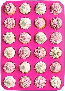 24 Cup, Non Stick, Premium Silicone Mold. Mini Muffin & Mini Cupcake Pan/Silicone Baking Mold/Mini Baking Cups