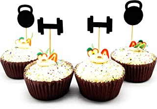 20pcs Black Fitness Cupcake Topper Dumbbell Party Decor Gym Theme Party Cupcake Topper Weightlifting Cupcake Topper Athlet...