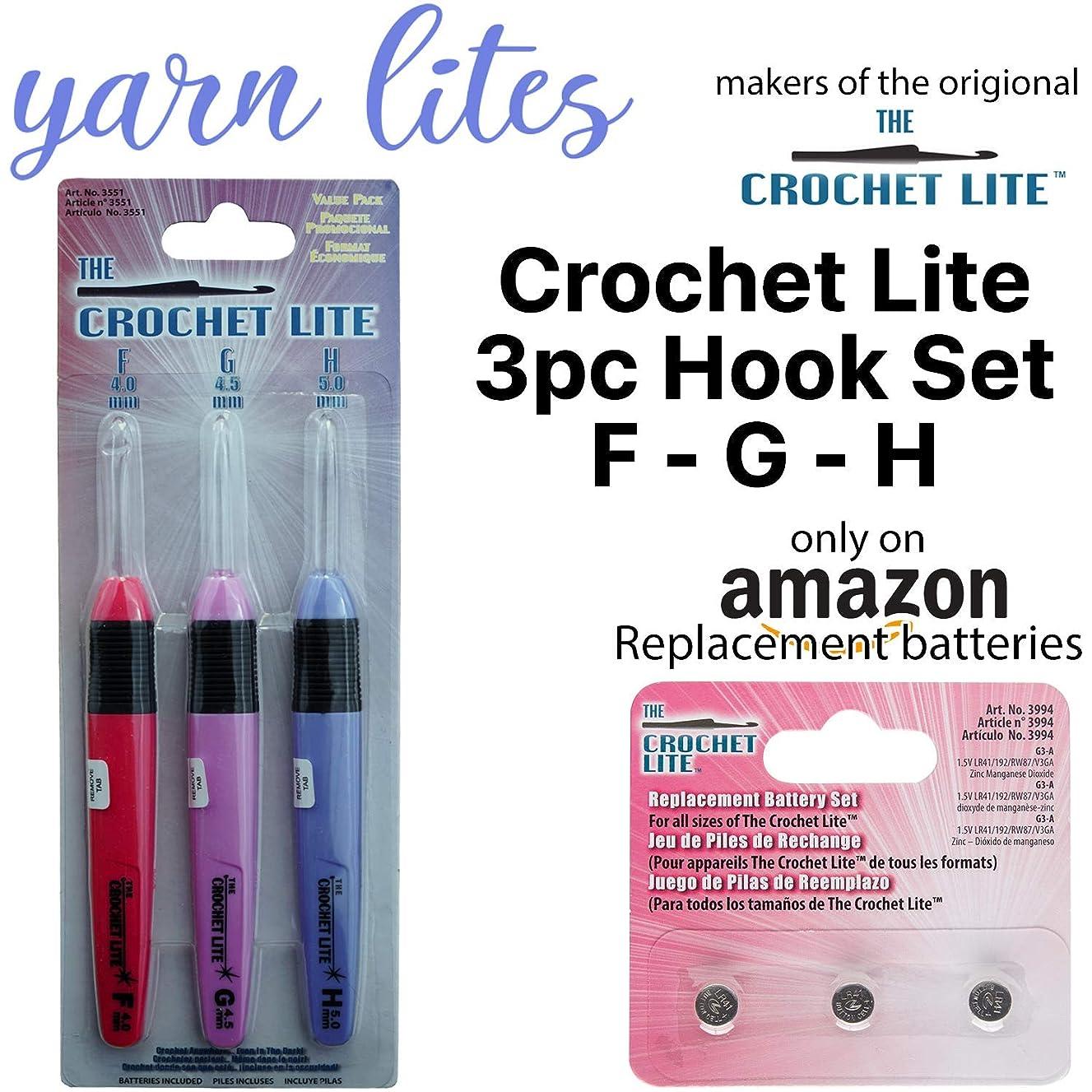 Light Up Crochet Hook Set - The Original Crochet Hook Lights, Set of 3 Hooks (F - G - H)