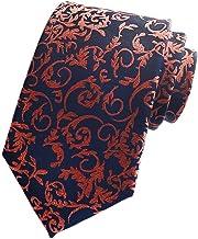 Secdtie Men`s Slim Stripe Paisley Floral Jacquard Woven Silk Tie Formal Necktie