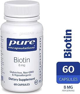 Pure Encapsulations - Biotin 8 mg - Hypoallergenic B Vitamin Supplement - 60 Capsules