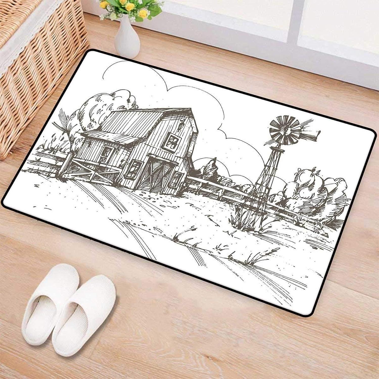 Windmill Decor,Door-mat,Rustic Barn Farmhouse Hand Drawn Illustration Countryside Rural Meadow,Door Mats for Inside Bathroom Mat Non Slip,Taupe White 32 x48