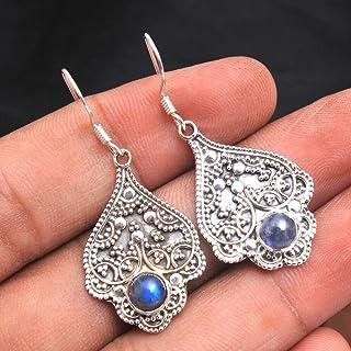 Orecchini pendenti di design in argento sterling con pietre preziose labradorite per donne e ragazze, orecchini a filo con...