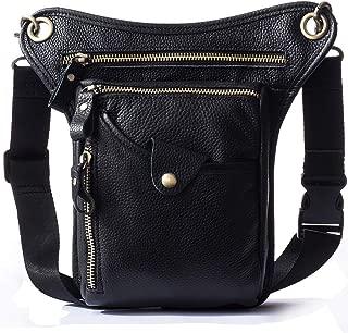 SEABIRD Motorcycle Waist Drop Leg Bag for Men and Women Supreme Genuine Leather Fanny Pack Black