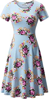 09e2fb2458a HUHOT Women Short Sleeve Round Neck Summer Casual Flared Midi Dress