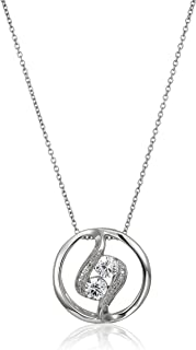 """Sterling Silver Cubic Zirconia Two-Stone Circle Pendant Necklace, 18"""""""