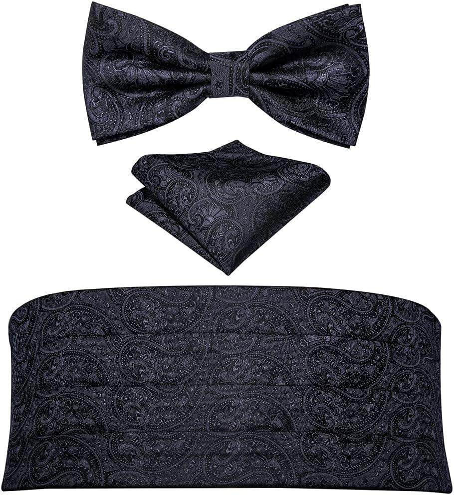 UXZDX Silk Men Cummerbund Black Bow Tie Floral Bowtie cket Square Cufflinks Set for Tuxedo Suit (Color : A, Size : One Size)