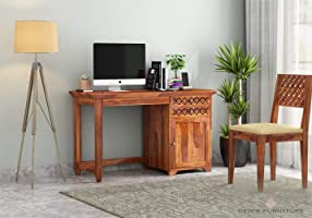 Dews Furniture Sheesham Wood Writing Study Desk Laptop Table for Home Office with Chair 2 Drawer 1 Cabinet (Honey Finish)