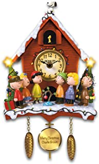 The Bradford Exchange A Charlie Brown Christmas Sculptural Cuckoo Clock with Lights Music and Motion