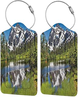 Durable luggage tag Lake House Decor Collection Picture of Lake Unisex Evergreens W2.7