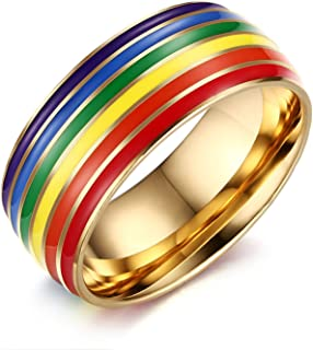 Nanafast 8mm Stainless Steel Enamel Rainbow LGBT Pride Ring for Lesbian & Gay Wedding Engagement Band