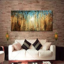 SANSNMI 1 Piece Abstract Blue And Golden Pictures Oil Painting Paintings For Living Room Home Decor Wall Canvas Art Handma...