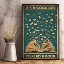 It's a good day to read a book vintage poster, Books love poster, Unframe Paper Poster - The Squad Wall Art, Home Decor, D...