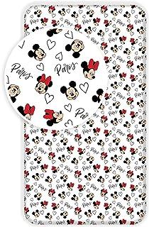 L-S KIDS BOUTIQUE Mickey et Minnie Paris - Drap Housse Enfant Coton - Literie 90 x 200 cm