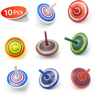 Wood Spinning Tops, Multicolored Painted Kids Novelty Wooden Gyroscopes, Fun Flip Tops, Assorted Standard Tops, Kindergart...