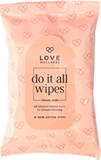Love Wellness Do It All Wipes for Feminine Hygiene, PH-Balanced, Natural Ingredients (3-Pack for Travel)