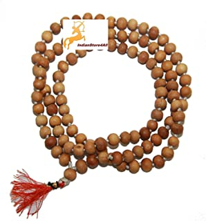 IndianStore4All 8MM TULSI HOLY Basil Prayer Beads JAPA MALA Necklace Hand Knotted. Karma 108+1=109 Beads. Blessed & Energi...