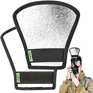 Camera Flash Light Diffusers Reflectors Double Sided White and Silver Bend Bounce Flash Reflector Kit for Camera Speedlight Flashes of Canon, Sony, Nikon, Fuji, 2 Pcs