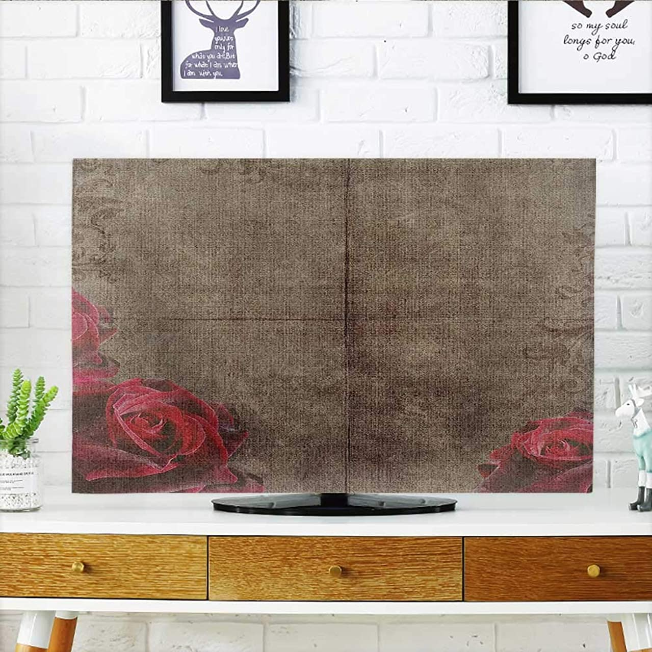 Jiahonghome Front Flip Top Decorative Artwork with Roses Ornamental Frame Image Nostalgic Vintage Style Red Brown Front Flip Top W20 x H40 INCH/TV 40