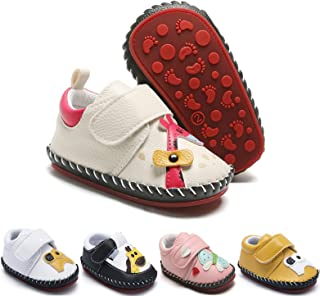 Baby Girls Boys Sneakers PU Leather Shoes Toddler Anti-Slip Rubber Sole Hard Bottom First Walkers Cartoon Crib Shoes