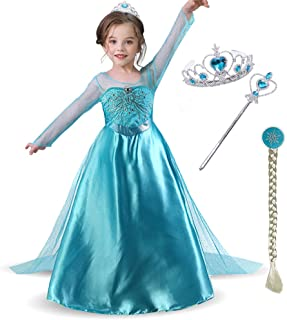 Snow Queen Girls Party Dress Costume with Accessories Princess Dress up Wig Crown and Wand,for Kids 3-8years