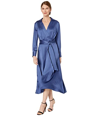 Tahari by ASL Petite Long Sleeve Charmeuse Faux Wrap Dress (Periwinkle) Women