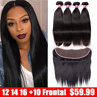 QinMei Brazilian Straight Hair 3 Bundles With Frontal Closure 13×4 Ear To Ear Lace Frontal Closure With Bundles 100% Unprocessed Virgin Human Hair Weave Extensions Natural Colo (12 14 16 +10 Frontal)