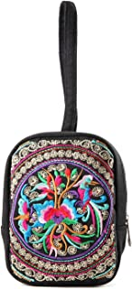 Embroidery Flowers Women Wristlet Handbag Purse Pouch Case for Coin Card Cosmetics Jewery