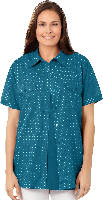 Woman Within Women's Plus Size Cotton Campshirt Shirt