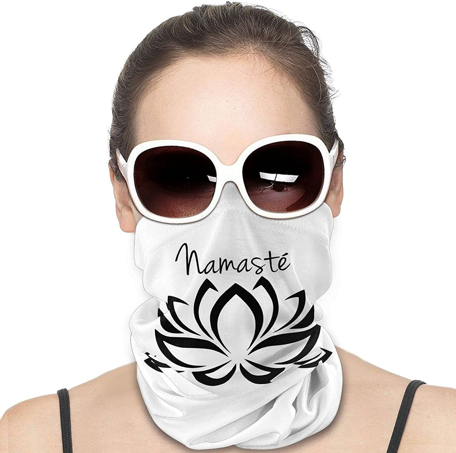 Namaste Symbol with Lotus Flower Round Neck Gaiter Bandnas Face Cover Uv Protection Prevent bask in Ice Scarf Headbands Perfect for Motorcycle Cycling Running Festival Raves Outdoors