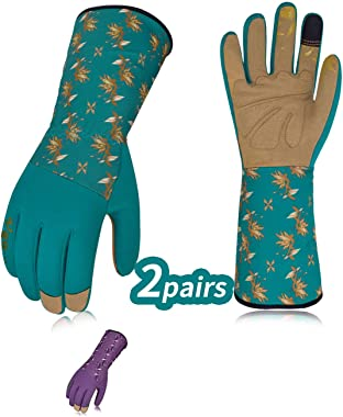 Vgo... 2Pairs Ladies' Synthetic Leather Long Cuff Rose Garden Gloves(Size L,Blue&Purple,SL7453)