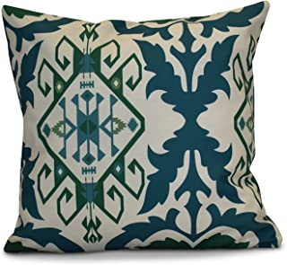 E by design PGN730BL38-20 20 x 20-inch, Bombay 6, Geometric Print Pillow 20x20 Blue