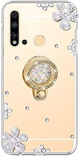 Urhause Kompatibel med Huawei Nova 5i fodral, spegel glitter strass diamantblomma TPU silikon fodral skyddsfodral bakskydd...
