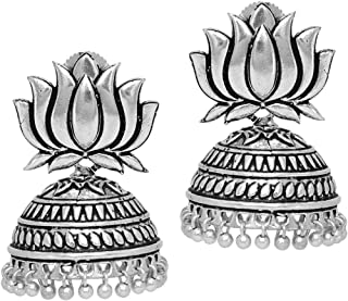 25.00 Grams Oxidised Plated Jhumka Earrings Gold & Silver Jewellery Gift For Women