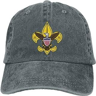 Unisex Boy Scout Fleur De Lis Dyed Washed Denim Cotton Baseball Cap Hat Black