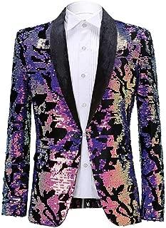 Men Fashion Purple Colorful Velvet Sequins Blazer